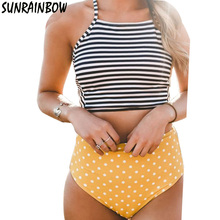 SUNRAINBOW 2016 New Handmade Bikinis Women Swimsuit Push Up Swimwear Female Sexy High Waist Bikini Set Beach Wear Bathing Suit