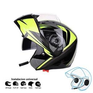 Image 2 - 오토바이 블루투스 헬멧 듀얼 바이저 모듈러 플립 bt 헬멧 레이싱 모토 크로스 헬멧 dot ece 스티커 M XXL 오토바이 헬멧