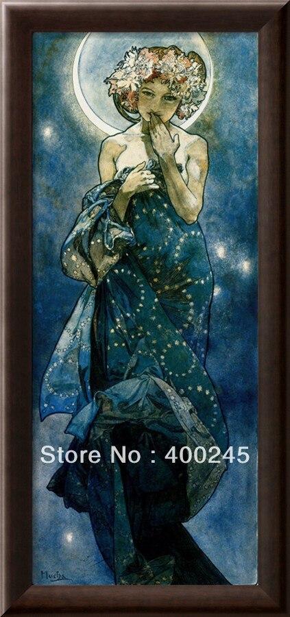 Pintura al óleo de alta calidad Alphonse Mucha para la venta el arte decorativo de la Luna para mujer en lienzo 100% pintado a mano envío gratis - 2