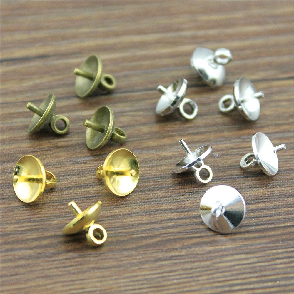 50pcs 4 Colors 5/6/8mm High Quality Copper Material Pearl Mounting, Bead Caps, Beads Findings, Jewelry Making