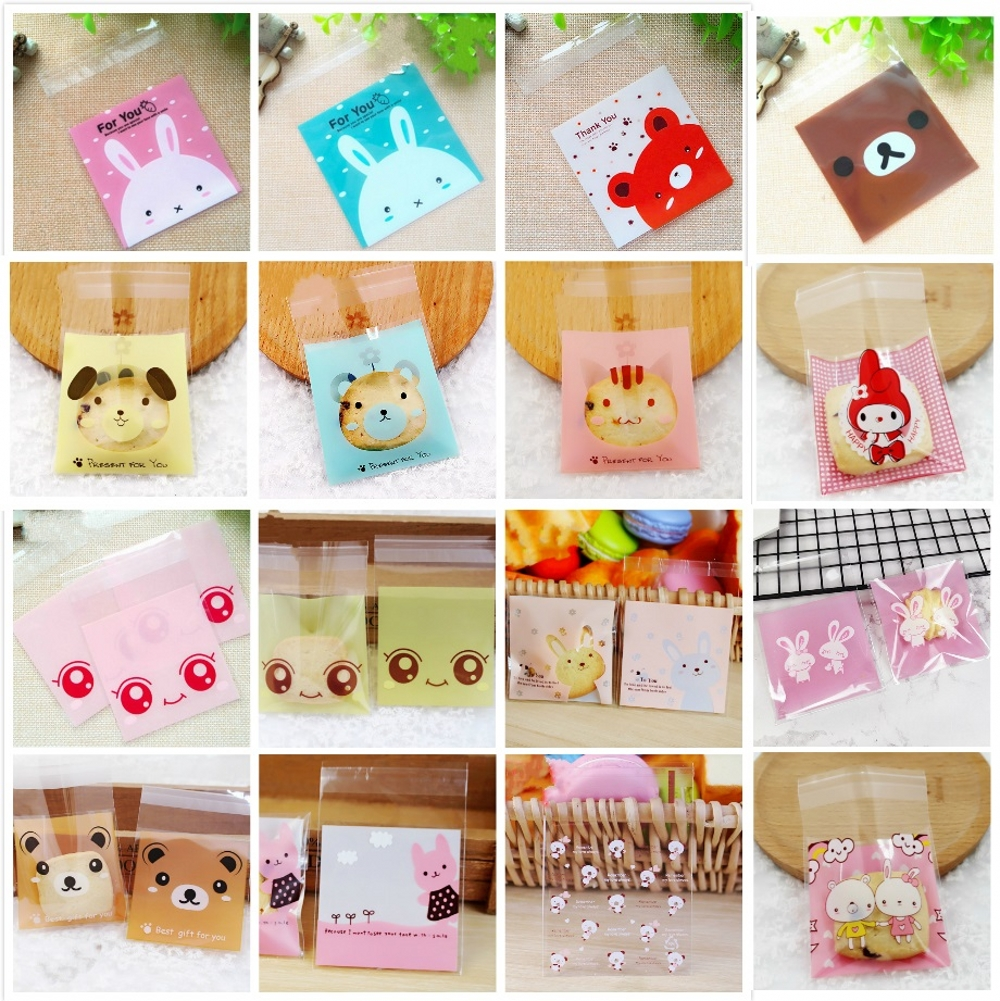50Pcs/Lot 7x7cm Cute Cartoon Rabbit Bear Plastic Bag Cookie Candy Gift Packaging Bags Wedding Birthday Party Favors