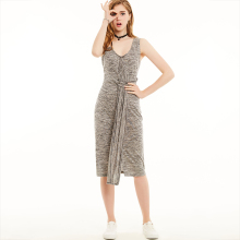 Young17 Casual Women Jersey Bodycon Dress Sleeveless  Pullover Dress  Spring Summer Knee Length V-Neck Vest Dress Grey Marled