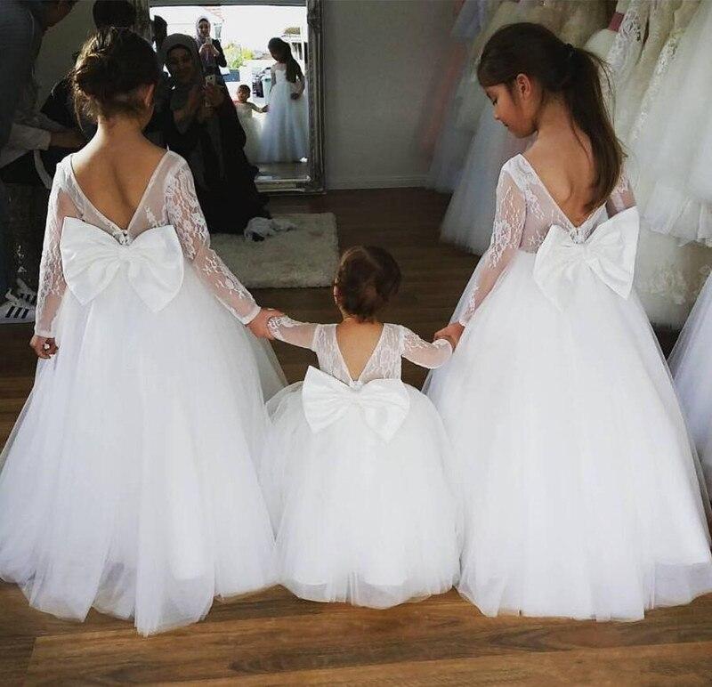 Custom Made   Flower     Girl     Dress   For Wedding Full Sleeves V-Back Bow Tulle First Communion Gowns New Cheap Christening   Dresses