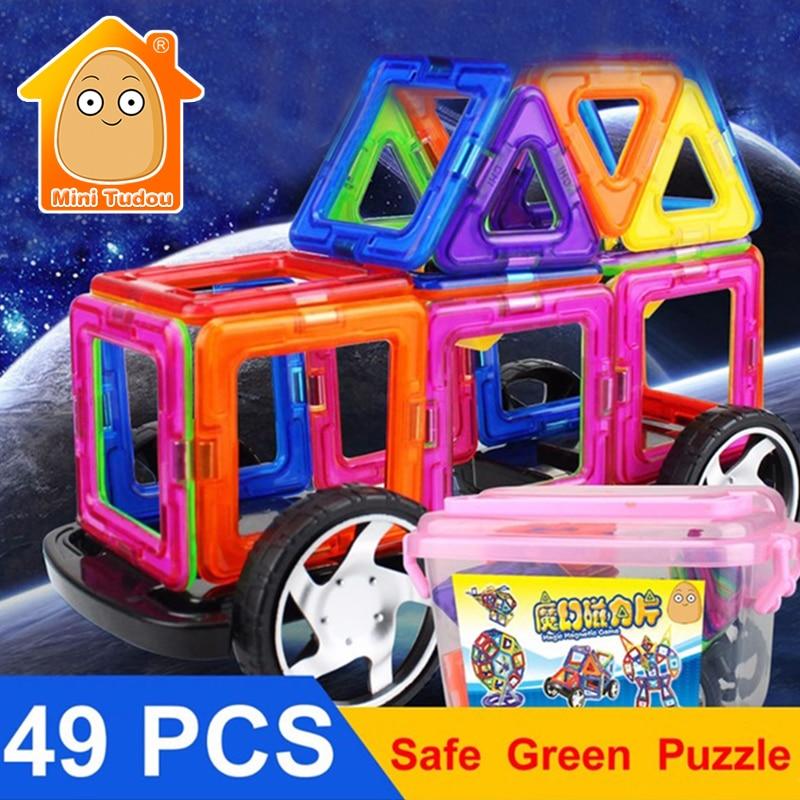 Minitudou Toy Bricks 49PCS Plastic Magnetic Designer Enlighten Bricks Models & Building Blocks 3D DIY Educational Kids Toys magnetic toy 77pcs mini magnetic models