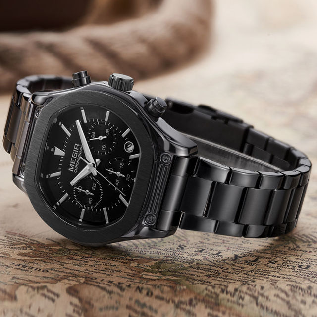 MEGIR Men's Chronograph Luminous Leather Strap Quartz Wristwatches Fashion Waterproof Military Sport Watch for Man 3014 Black