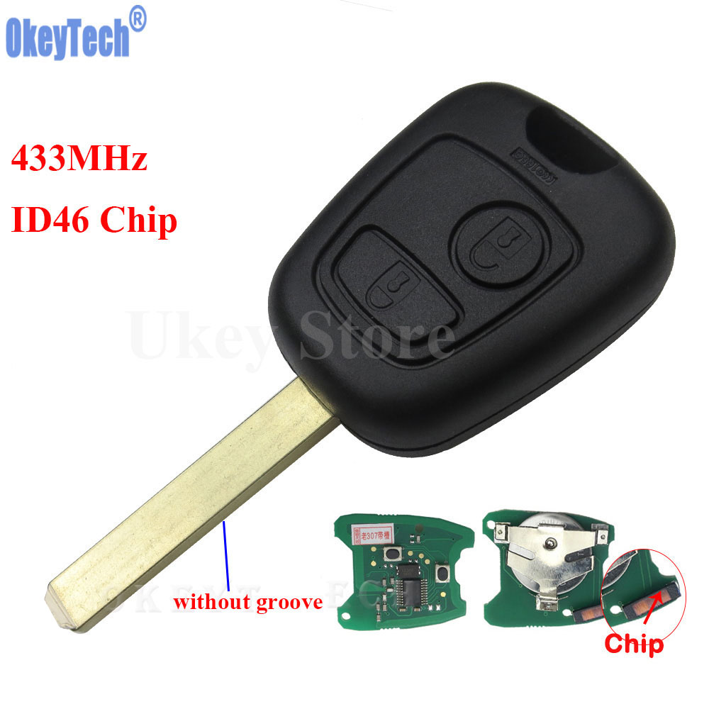 OkeyTech 2 Buttons VA2 Blade Remote Car Key Fob for Citroen C1 C2 C3 C4 Xsara Picasso ID46 Chip 433MHz Car Key Shell Replacement