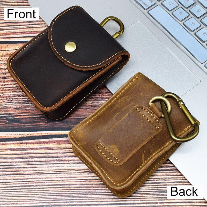 Genuine Leather Belt Keys Organizer Cigarette Case Waist Hanging Coin Storage Bag Crazy Horse Leather Card Case Car Key Wallet