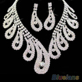 women wedding Bridal party Rhinestone crystal necklace earrings Jewelry sets new  021E