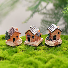 ISHOWTIENDA Mini Dollhouse Stone House Resin Decorations For Home And Garden DIY For Home And Garden DIY Mini Craft Cottage(China)