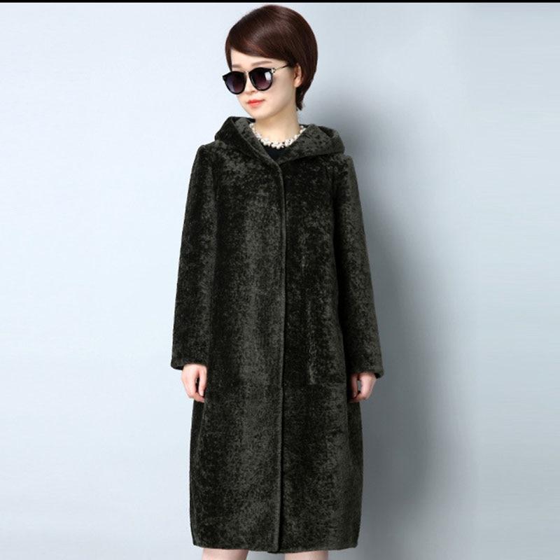 Faux 4xl Taille Plus La Mode Survêtement green Capuchon Couleurs Veste Black Manteau Hiver Nouveau Fourrure Épais À Casual Pardessus Solide Fausse camel Femmes Automne qrEqWxwAZ