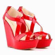 LOSLANDIFEN Women Pumps Patent Platform Peep Toe Wedges 14cm High Heel Shoes Women Wedding Shoes EUR35-42 391-1 FREE SHIPPING