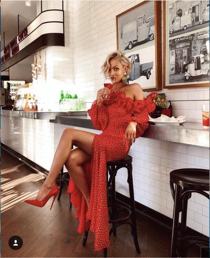 Abiti Del Club Di Invernali Dell'annata Donne Modo Fessura Sera Vestito Elegante Night Ruffles Rosso Lungo Sexy Partito Red Aderente Halter 7fyvY6bg