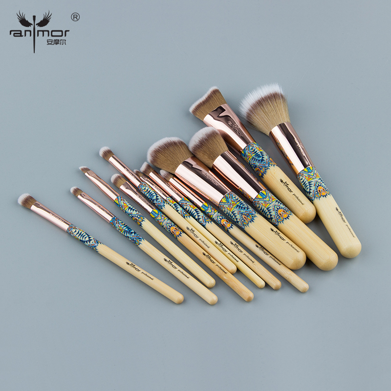 Anmor Rose Gold 12PCS Professional Make Up Brushes Unique Synthetic Hair Beautiful Makeup Brushes Set For Foundation Powder