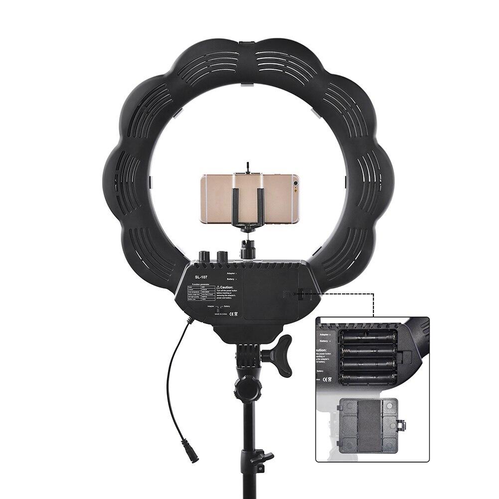 Nouveau Portable Haute qualité Led Anneau de Lumière Ensemble de la Lampe Dimmable Caméra Photo Studio Vidéo Photographie Éclairage Avec Trépied Miroir @ JH