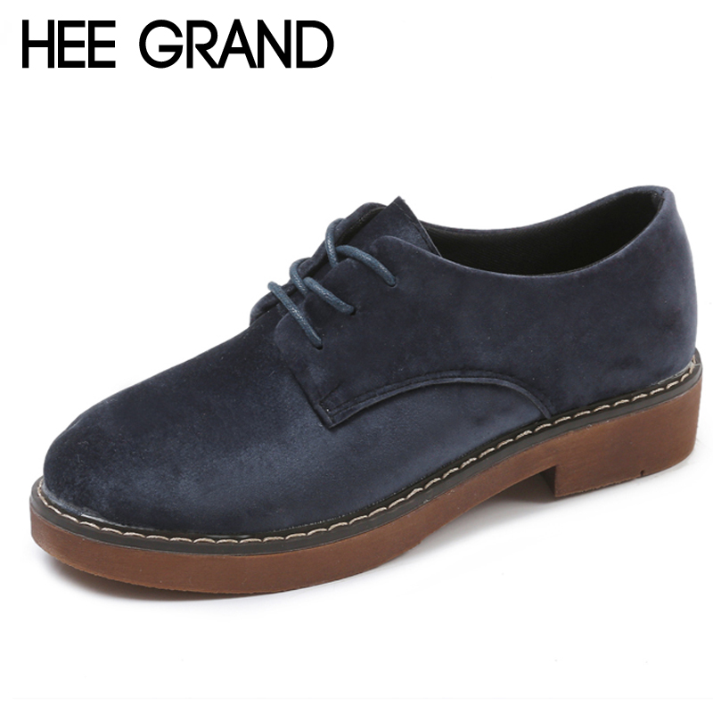 HEE GRAND Faux Suede 2018 Lace-Up Platform Oxfords Shoes Woman Casual Platform Creepers Fashion Flats 3 Colors XWD6406 hee grand camouflage creepers 2017 lace up platform shoes woman wedges loafers slip on flats casual fahsion woman shoes xwd6038
