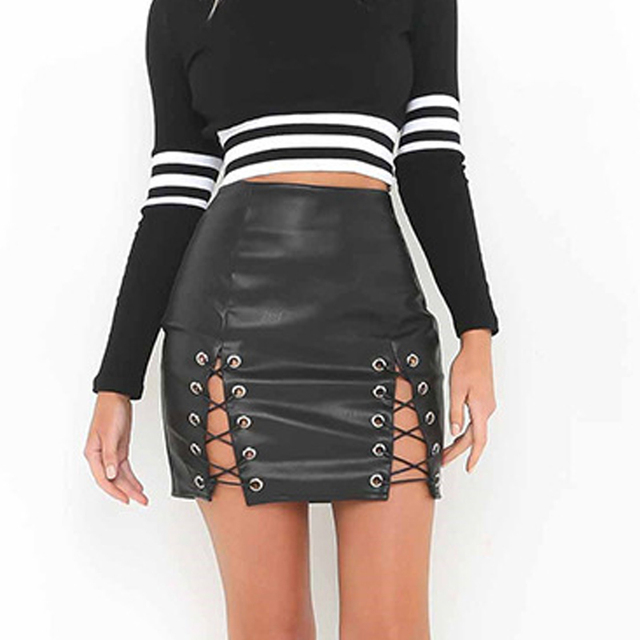 c5f1b93e5cda Women Black PU Leather Skirt Fake Leather High Waist Bandage Side Lace Up  Bodycon Sexy Mini Skirt Club Wear