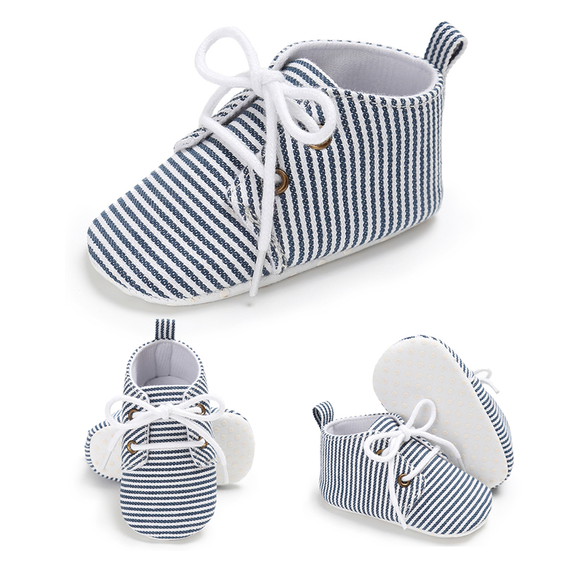 Walk Canva Crib Infant Baby Shoes Soft Stripped Kids Girls Sole Sneaker Boys