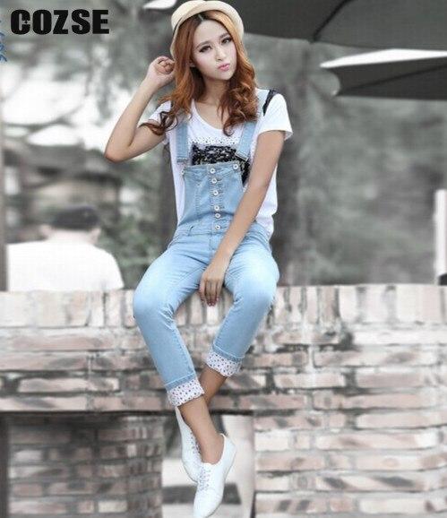 ФОТО 2014 new jumpsuit spring denim bib  women pants light color skinny jeans free shipping q1099