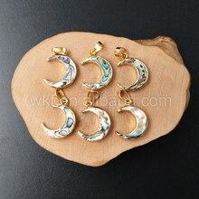WT P957 Toptan Doğal abalone shell hilal ay kolye, altın renk abalone ay kolye 20mm