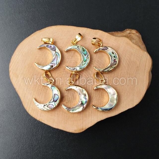 WT P957 סיטונאי טבעי abalone מעטפת סהר ירח תליון, זהב צבע abalone ירח תליון 20mm