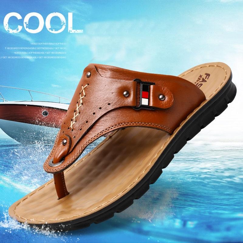 여름 남성 샌들 비치 남성 캐주얼 신발 정품 가죽 - 남성용 신발
