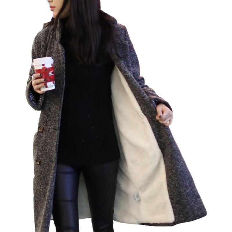 Automne De Nouveau Hiver Lâche Black Femmes Taille Épaississement Vestes Velours white Coréenne Treillis Long Laine Plaid X208 La Plus 2018 Gray Revers Manteau IXYSYd