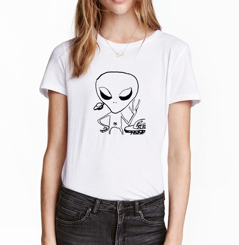 Design t shirt china - Alien Printed Funny Women T Shirt 2017 Summer Punk T Shirt Women Short Sleeve Shirt
