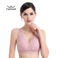 New Women Wire Free Large Size Lace Sleeping Bra Plus Size Deep V Bralette Breathable Bra