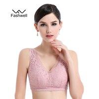 New Women Wire Free Large Size Lace Sleeping Bra Plus Size Deep V Bralette Breathable Bra