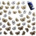 Belleza Glitter Oro Color de La Astilla de La Mariposa Diseño 3D Etiqueta Engomada Del Clavo Etiquetas Engomadas Del Arte Decoraciones de uñas Esculpidas Maquillaje Envío Gratis