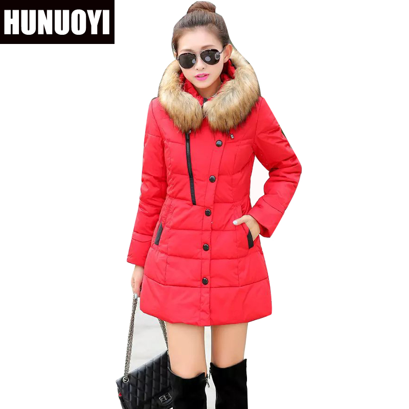 2017 NEW Winter Long Cotton Padded Women Fur Collar Coat Star Wadded Solid Jacket Warm Outerwear Parkas Plus Size 3XL HN80 2017 new women long winter jacket plus size warm cotton padded jacket hood female parkas wadded jacket outerwear coats 5 colors
