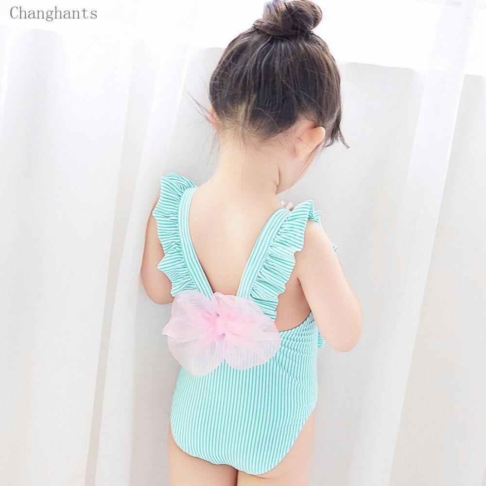 Nowe dziewczęce kostium kąpielowy w paski z falbankami Ramię i - Ubrania sportowe i akcesoria - Zdjęcie 2