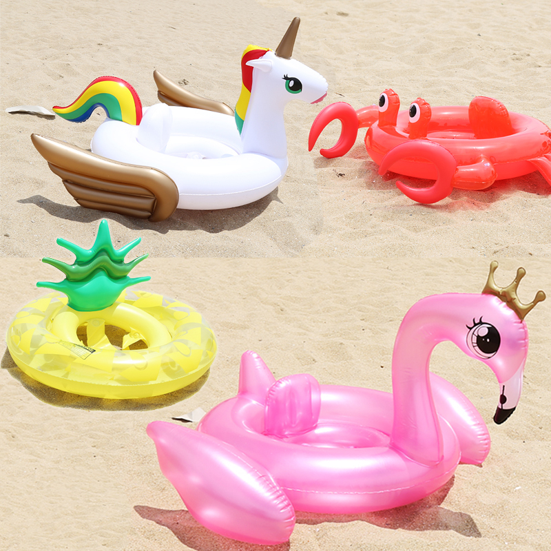 Hot Summer Baby Inflatable Flamingo Pool Float Swim Ring Swan Water Sports Fun Toy Pineapple Crab Unicorn Inflatable Circle Seat vacation