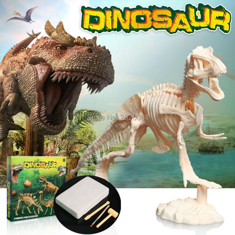 Novetly toys digging out dinosaur assemble skeleton from clay block,excavation kits dig toys children's puzzle educational toys bwl 01 tyrannosaurus dinosaur skeleton model excavation archaeology toy kit white