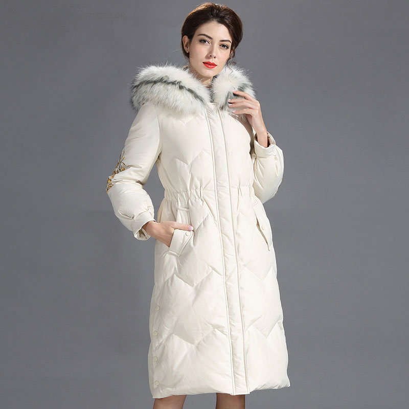 Winter Jacket Women White Duck   Down   Long Parkas   Coat   Plus size Winter good quality duck   down     coat   female hooded warm   down     coats