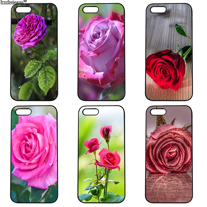Colourful Rose Pretty Flower Mobile Phone Case Hard PC Cover for iphone 8 7 6 6S Plus X 5S 5C 5 SE 4 4S iPod Touch 4 5 6 Shell