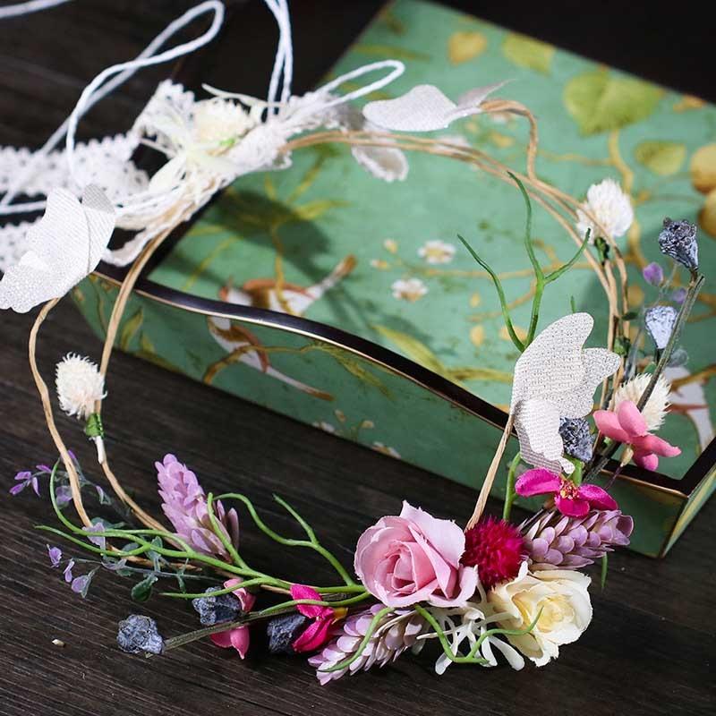 Bridal Colorful Flower Wreath Wedding Tiaras Adjustable Floral Garland Women Headband Hairpieces Jewelry Mori Girl