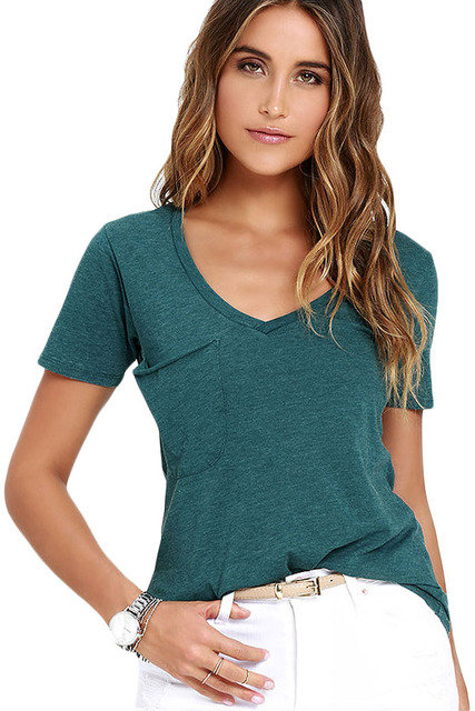 2016 das Mulheres Novas do Verão Sexy Exército Verde Cinza Verão LGY25832 Bolso Casual T-shirt Básica Plus Size