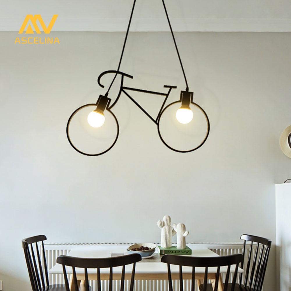 купить Vintage Industrial Pendant Light Bicycle pendant Lamp Child Creative Loft hanging lamp restaurant Cafe Living room decoration по цене 3136.72 рублей