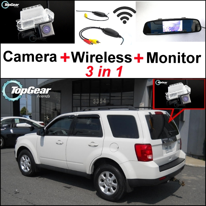 3 in1 Special Rear View Camera + Wireless Receiver + Mirror Monitor Easy DIY Backup Parking System For Mazda Tribute 2008~2012 wireless pager system 433 92mhz wireless restaurant table buzzer with monitor and watch receiver 3 display 42 call button