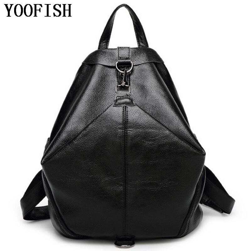 YOOFISH  Women Genuine  Leather Backpacks for teenage girls school bags Fashion Travel backpack  Student backpack   LJ-895