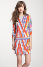2013 abstract geometric the multicolored the corrugated printing knitted dress
