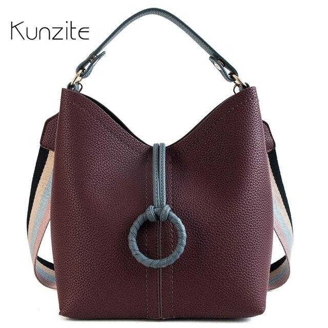KUNZITE Pattern Soft PU Leather Women Handbag Two Pieces Female Shoulder Bag  Girls Messenger bag Casual ac579c7b662b1
