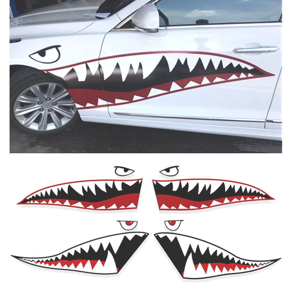 Shark Mouth Car sticker Car Styling Reflective Vinyl Sticker Auto Cool Refitting Exterior Decal for Side Door car racing door side stripes skirrt sticker sport all4 graphic auto vinyl decal for mini countryman r60 car styling accessories