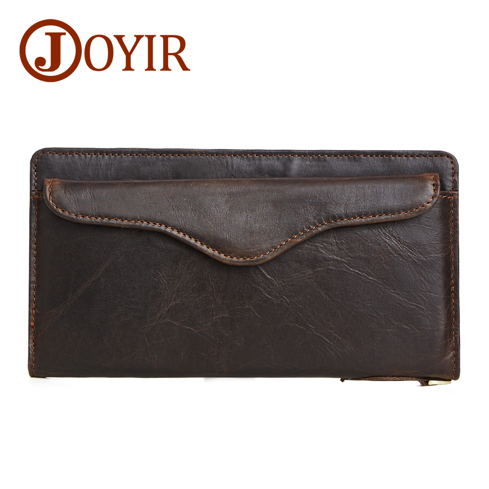 JOYIR Wallet Men Leather Genuine Solid Men Wallets Leather Coin Purse Hasp Vintage Card Holder Long Carteira Masculina New 2050 joyir wallet men leather genuine solid men wallets leather vintage card holder money short carteira masculina male gift 2023