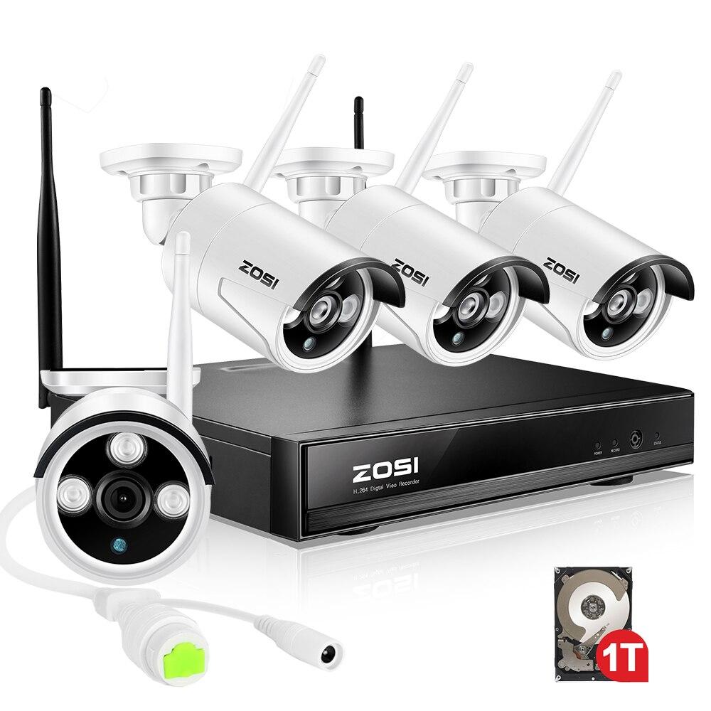 ZOSI 4CH Беспроводная система видеонаблюдения 960 P HD NVR комплект с 1 ТБ наружная ИК Ночная ip-камера wifi камера безопасности системы наблюдения наб...