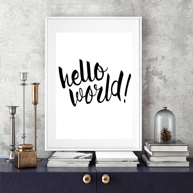 Hello World Nursery Quote Canvas Painting Minimalis Black And White Poster Prints Wall Art Picture Kids Room Home Decor Unframed In Calligraphy