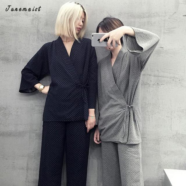 Mulher Conjunto de Pijama de Algodão de Manga Longa Com Decote Em V Primavera Outono Cardigan Cardigan Quimono Japonês Com Calça Homewear Pijamas Pijama