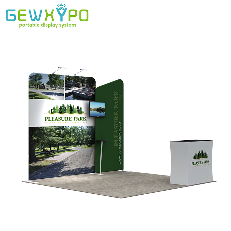 Portable Exhibition Booths : 10ft exhibition booth portable pop up tension fabric display wall