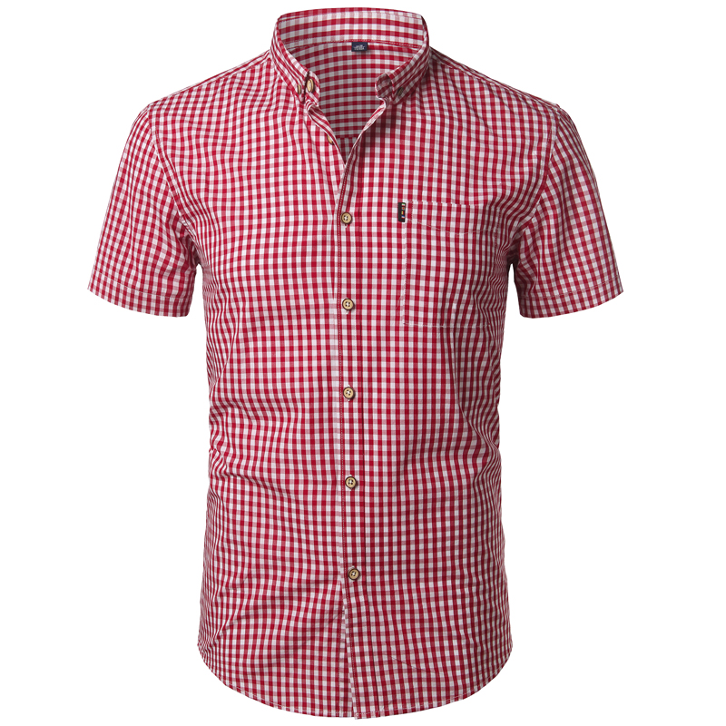 Small Plaid Shirt Men Summer New Short Sleeve Cotton Mens Dress Shirts Casual Button Down Chemise Homme Camisa Masculina XXXL 4